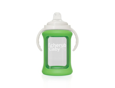 Wide Neck Glass Sippy Cup with Colour Change Sleeve 240ml - Green