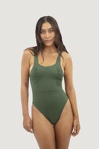 1 People Saint Tropez Ruffled One-Piece Swimsuit in Seaweed Green