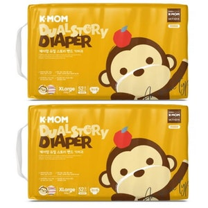 K-Mom Dual Story Diapers/Nappies Size XL 12kg and up - 2 Packs (104pcs)