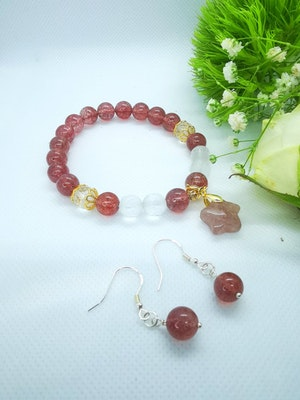 LinqGlo Collections Strawberry Quartz Jewellery Set