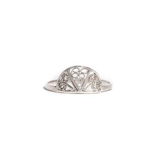 Thin Delicate Half Circle Filigree Ring