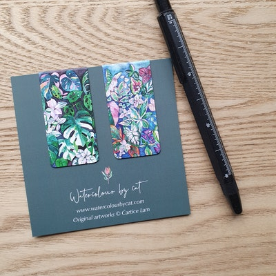 Watercolour by Cat Set of 2 Indoor Plant Magnetic Bookmark