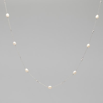 I Dream of Silver Pearl and Cubic Zirconia Necklace (Niamh)