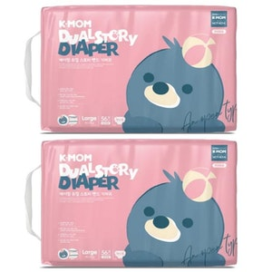 K-Mom Dual Story Diapers/Nappies Size L 9-14kg - 2 Packs (112pcs)
