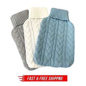 HOT WATER BOTTLE KNITTED COVER ONLY Winter Warm Soft Bag Relaxing Warm New