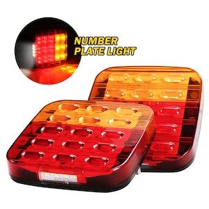 LIGHTFOX LIGHTFOX Pair Square LED Trailer Tail Lights Number Plate Light