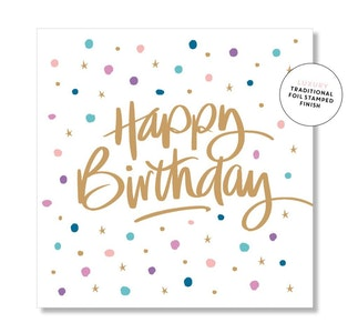 Confetti Script Birthday