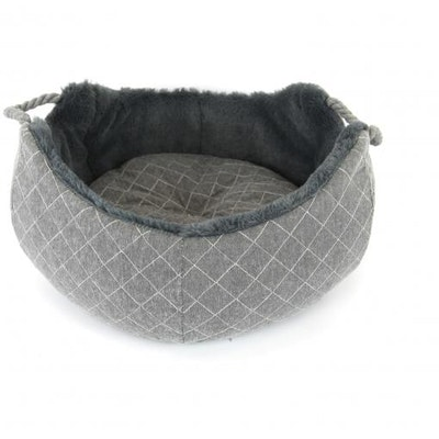 T&S Quilted Grey Pet Bed Round