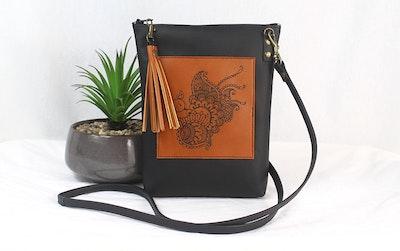 Monika Leather Dance Bag - Peacock Black & Tan