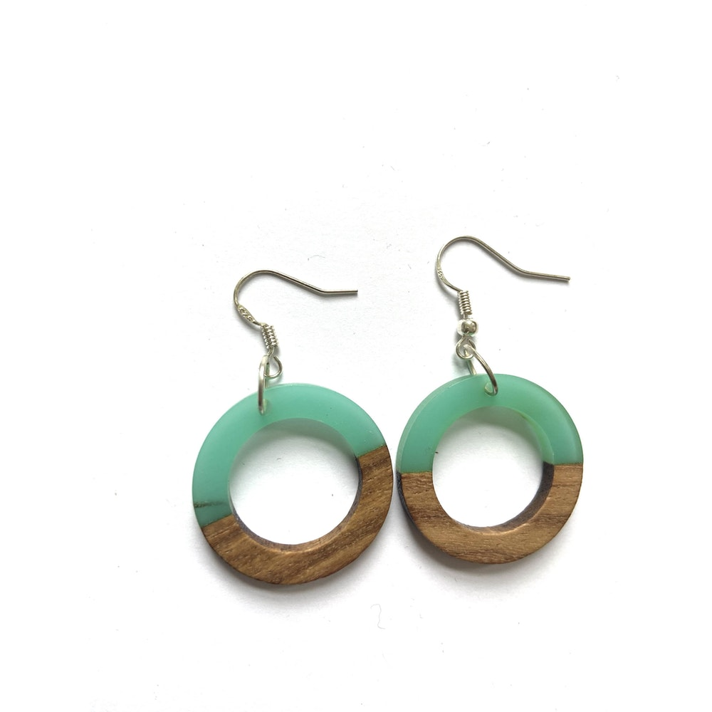 One of a Kind Club Turquoise And Wood Circle Edge Earrings