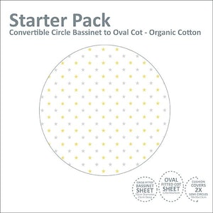 Linen Starter Pack: Circle Bassinet to Oval Cot (ORGANIC COTTON JERSEY): YELLOW & GREY STARS