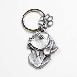 Key Companions Solid Fine Pewter Beagle with Paw Keychain
