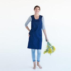 Apron Florist Joy, 100% Organic Denim, with simple size adjustable tie at back