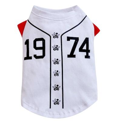 DoggyDolly THICK DOG - Doggy Baseball T Shirt White