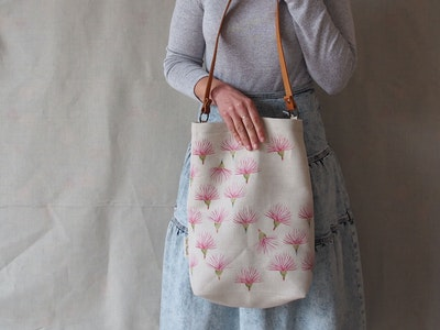 Printed linen tote bag - Gum flower