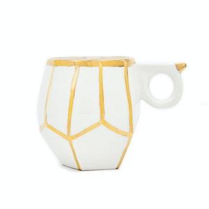 White porcelain & gold lustre handmade geo mug by Oditi Designs