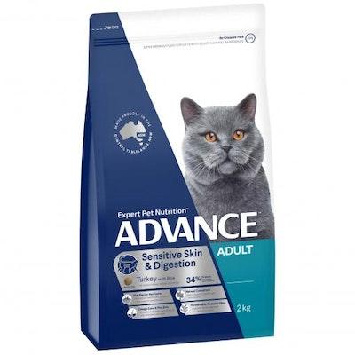 Advance Sensitive Adult Turkey Dry Cat Food 2kg