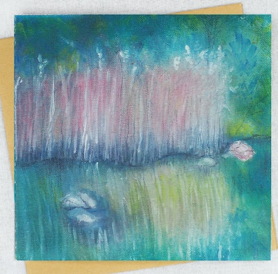 Holly & Bud Blank waterscape Greeting Card