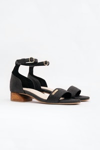 1 People Chicago Ankle Strap Heels in Charcoal Black