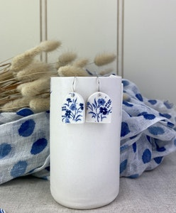 Blue and White Floral Print Arch Shaped Earrings on Sterling Silver Wires
