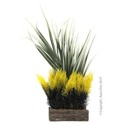 Aqua One Aquarium Ornament - Planter Box Grasses/Yellow Ferns 11.3x9x22.5cm
