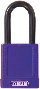 ABUS 74/40 Lock Out Tag Out (LOTO) lightweight aluminium padlock with purple vinyl encased body keyed to differ