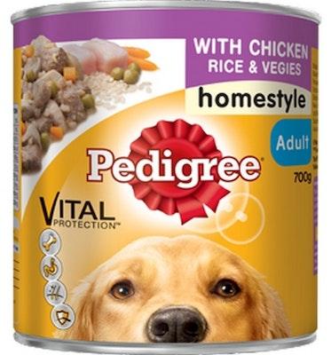 Pedigree Vital Adult Dog Food Chicken & Rice Homestyle 700g x 12