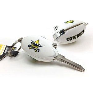 Creative Keys NRL Footy Flip Key Blank with Keyring LW4 - North Queensland Cowboys