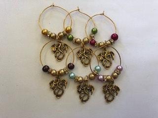 Handmade By Bronzerose Gold Dragon Wine Charms
