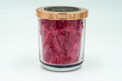"""MoeJoe Creations """"Raspberry Blowing, Sunshine and Vanilla"""" Palm Wax Candle in Glass Tumbler"""