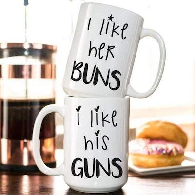 Through the Milky Way  HIS GUNS HER BUNS COFFEE MUG SET 15 oz