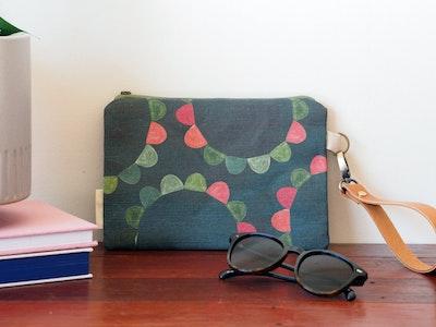 Linen clutch bag - Garden Party
