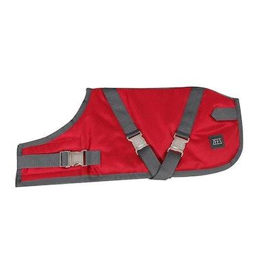 Zeez Supreme Waterproof Dog Coat Ruby Red/Grey - 12 Sizes