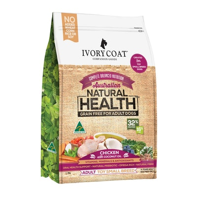 IVORY COAT Grain Free Toy/Small Breed Adult Chicken & Coconut Oil Dry Dog Food 2kg