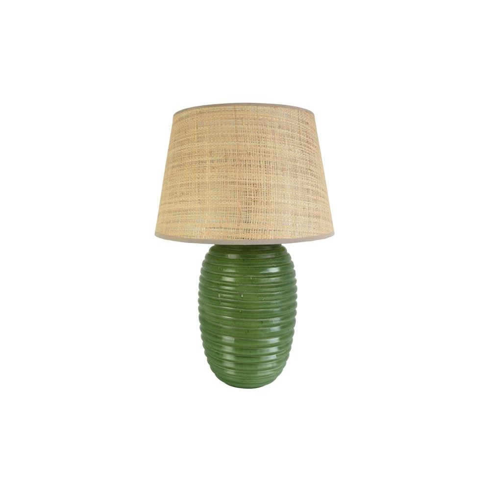 Birdie Fortescue Thuluth Ridged Glass Lamp - Green
