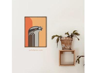 Jen Fullerton Art and Design Tawny Frogmouth – native Australian bird art A3