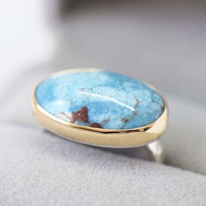 TURQUOISE RING 14K GOLD AND STERLING SILVER
