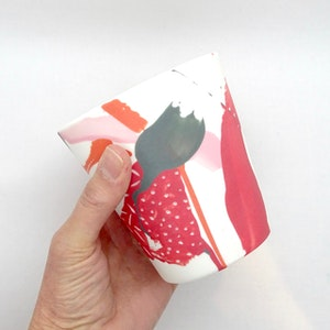 Ceramic Cup - Jumbo - Painterly Red/Pink