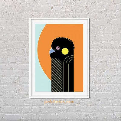 Jen Fullerton Art and Design Yellow-tailed black cockatoo print – native Australian bird art