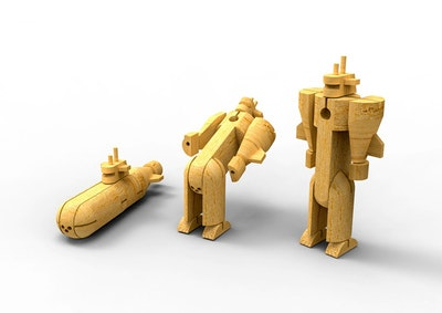 Kaper Kidz WOODEN TRANSFORMER - SUBMARINE
