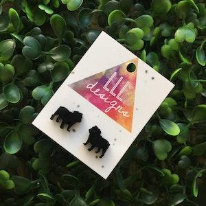 Super Cute British Bull dog Studs / Earrings. Puppy love. Bull dog love. Bulldogs rock. Bulldogs Rules. Laser Cut Earrings. Handmade Studs.