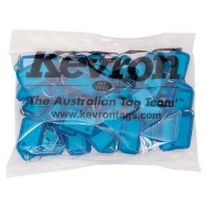 Kevron ID5 Easy Opening Plastic Key Tags – 50 Pack – Blue