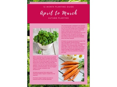 Growing Vegetables Down Under Autumn Planting 12 Month Planting Guide - April to March 2021