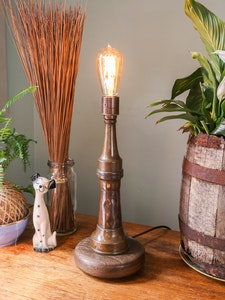 Industrial Copper and Brass Firehose Nozzle Lamp