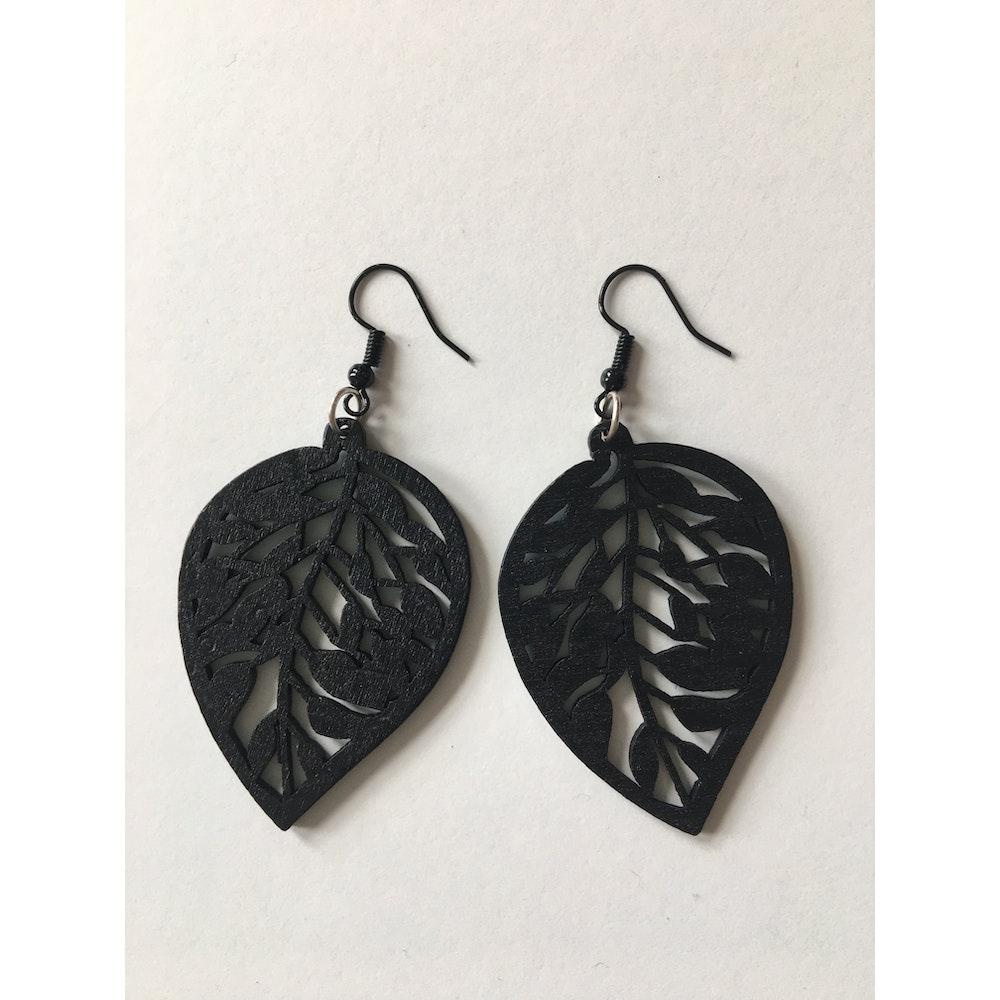 One of a Kind Club Black Wooden Leaf Earrings
