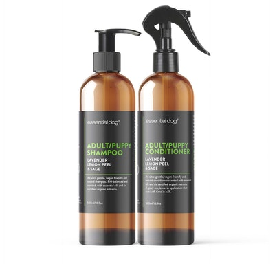 Essential Dog Natural 500ml Adult Puppy Dog Shampoo and 500ml Conditioner Twin Pack (Lavender, Lemon Peel and Sage)