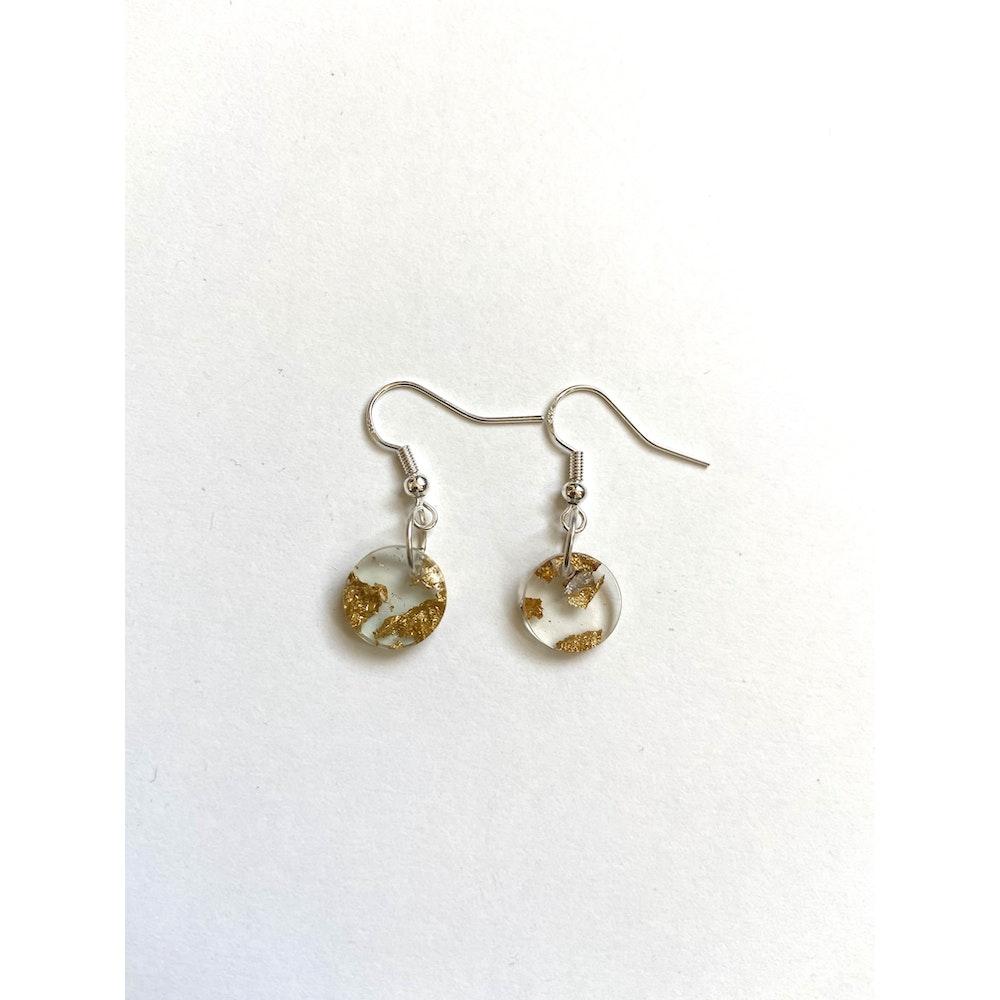 One of a Kind Club Gold Fleck Clear Charm Earrings