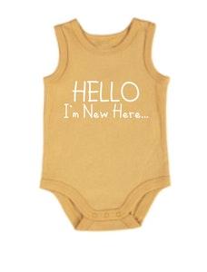 Hello I'm New Here Mustard Singlet