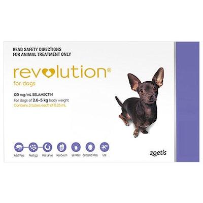 Revolution 2.6-5kg Small Dog Parasite Wormer Treatment Purple - 2 Sizes