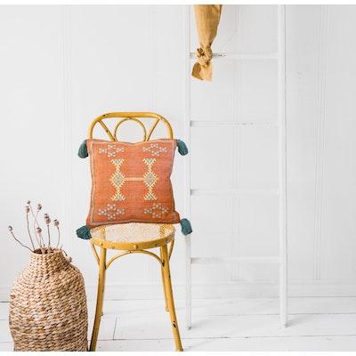 SATTVA WORLD  Śoṇaḥ Burnt Orange Rustic Cactus Cushion Cover with Tassels - 45x45